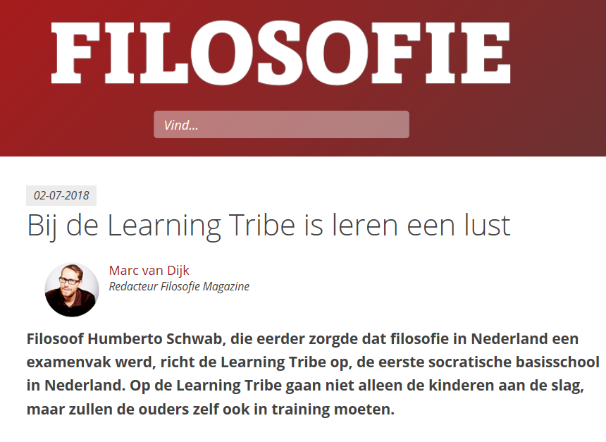 Artikel Learning Tribe in Filosofie Magazine